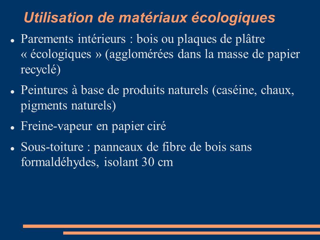 Utilisation de matériaux écologiques Parements intérieurs : bois ou plaques de plâtre « écologiques » (agglomérées dans la masse de papier recyclé) Pe