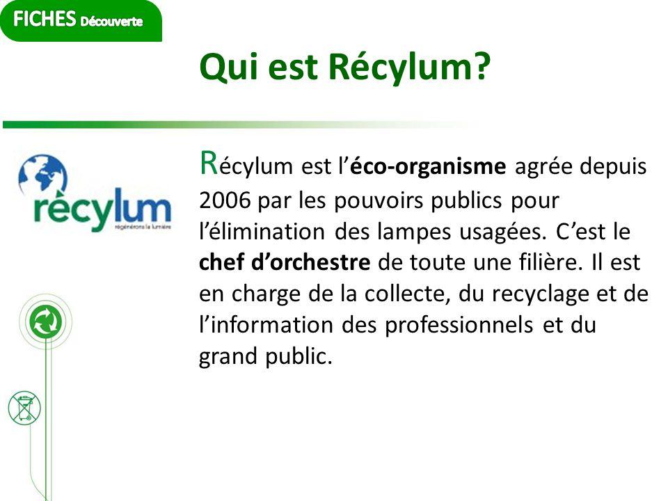 Qui est Récylum? R écylum est léco-organisme agrée depuis 2006 par les pouvoirs publics pour lélimination des lampes usagées. Cest le chef dorchestre