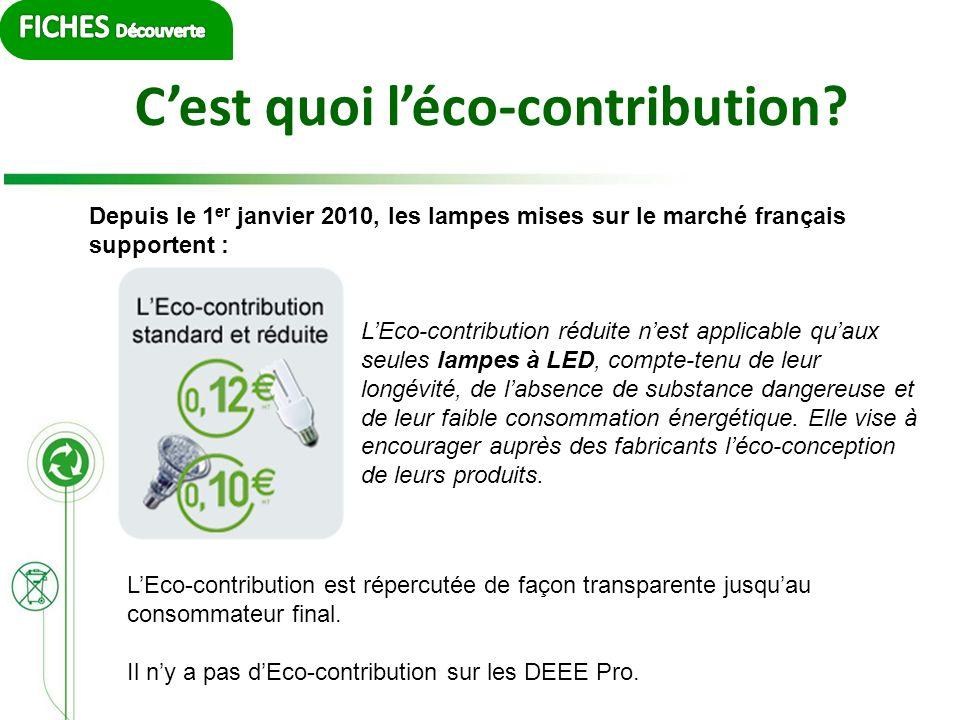 Cest quoi léco-contribution? Depuis le 1 er janvier 2010, les lampes mises sur le marché français supportent : LEco-contribution réduite nest applicab