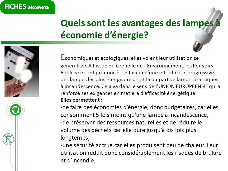 Quels sont les avantages des lampes à économie dénergie? E conomiques et écologiques, elles voient leur utilisation se généraliser. A lissue du Grenel
