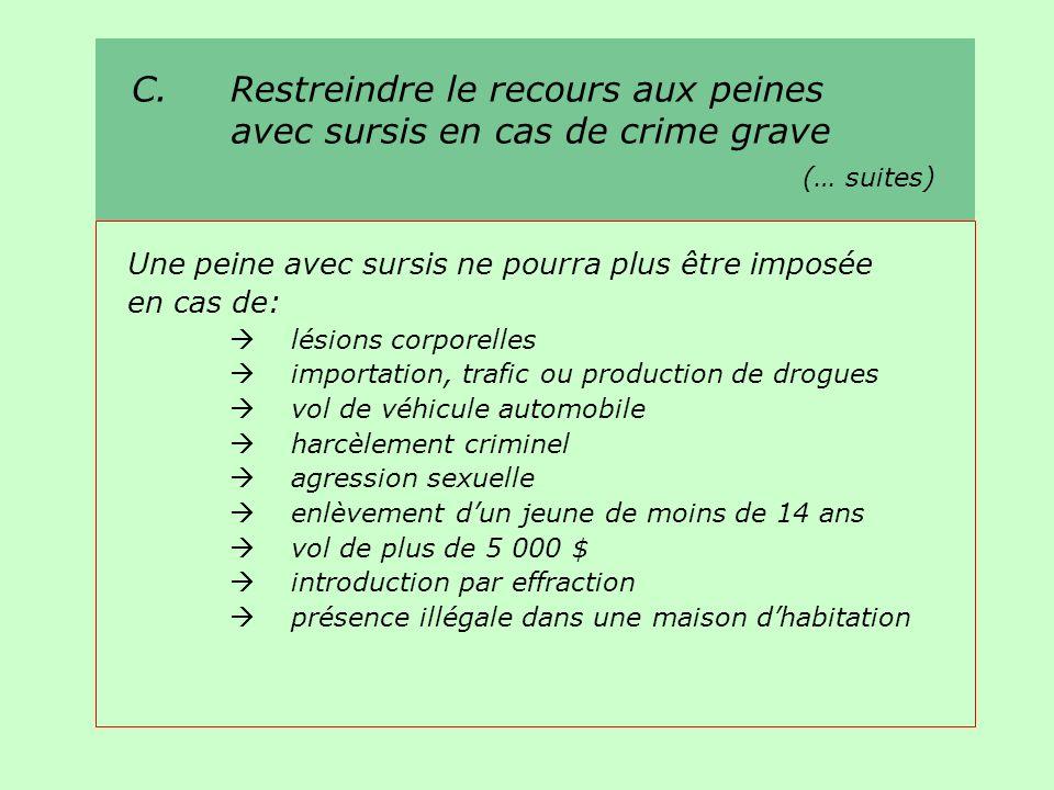 C. Restreindre le recours aux peines avec sursis en cas de crime grave (… suites) Une peine avec sursis ne pourra plus être imposée en cas de: lésions