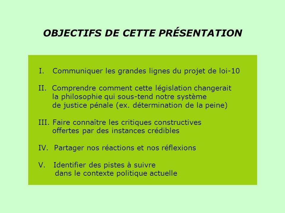 OBJECTIFS DE CETTE PRÉSENTATION I. Communiquer les grandes lignes du projet de loi-10 II.