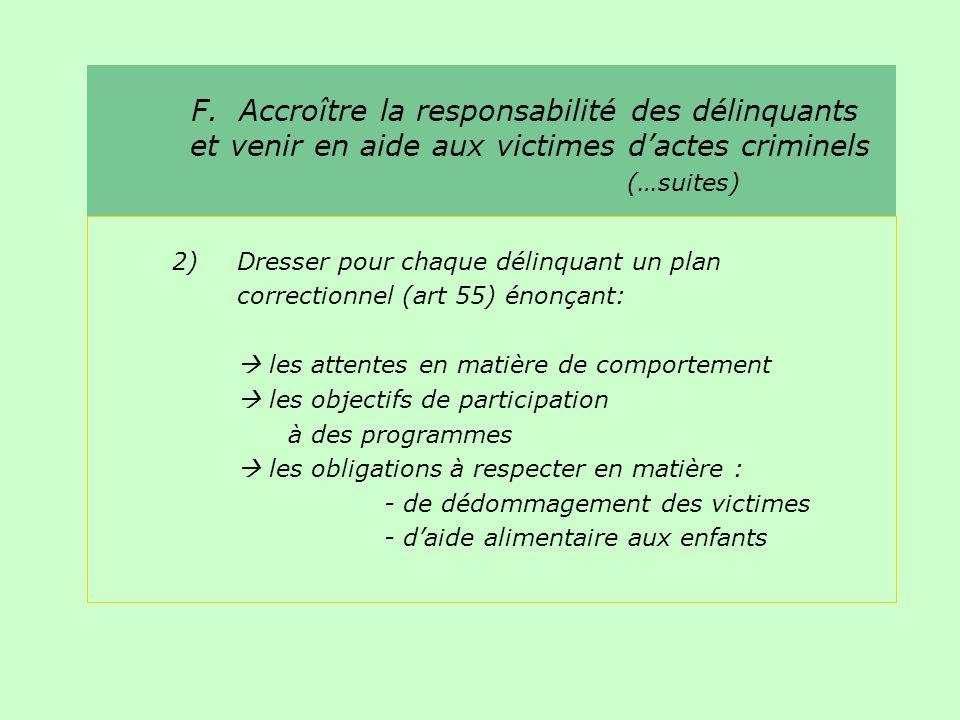 F. Accroître la responsabilité des délinquants et venir en aide aux victimes dactes criminels (…suites) 2)Dresser pour chaque délinquant un plan corre