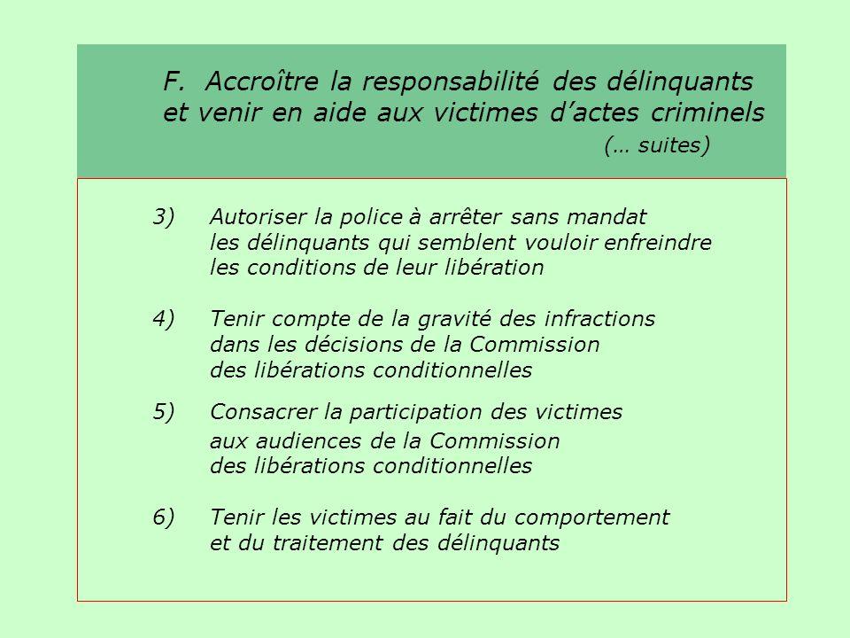 F. Accroître la responsabilité des délinquants et venir en aide aux victimes dactes criminels (… suites) 3)Autoriser la police à arrêter sans mandat l