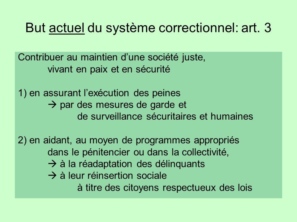 But actuel du système correctionnel: art.
