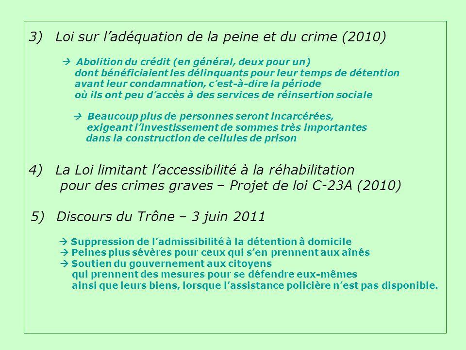 3) Loi sur ladéquation de la peine et du crime (2010) Abolition du crédit (en général, deux pour un) dont bénéficiaient les délinquants pour leur temps de détention avant leur condamnation, cest-à-dire la période où ils ont peu daccès à des services de réinsertion sociale Beaucoup plus de personnes seront incarcérées, exigeant linvestissement de sommes très importantes dans la construction de cellules de prison 4) La Loi limitant laccessibilité à la réhabilitation pour des crimes graves – Projet de loi C-23A (2010) 5)Discours du Trône – 3 juin 2011 Suppression de ladmissibilité à la détention à domicile Peines plus sévères pour ceux qui sen prennent aux aînés Soutien du gouvernement aux citoyens qui prennent des mesures pour se défendre eux-mêmes ainsi que leurs biens, lorsque lassistance policière nest pas disponible.