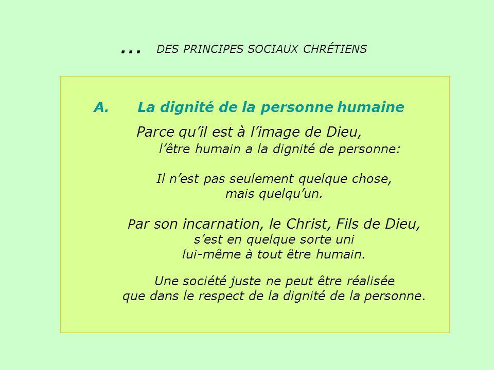 A. La dignité de la personne humaine Parce quil est à limage de Dieu, lêtre humain a la dignité de personne: Il nest pas seulement quelque chose, mais