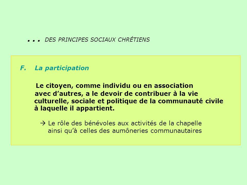 F. La participation Le citoyen, comme individu ou en association avec dautres, a le devoir de contribuer à la vie culturelle, sociale et politique de