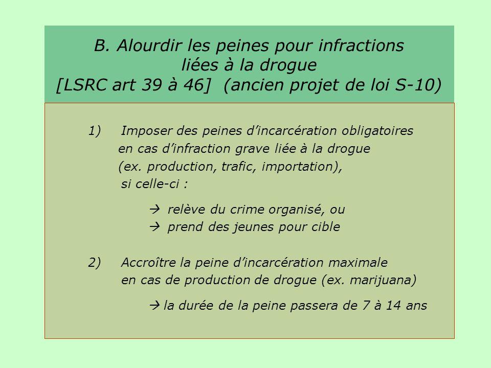 B. Alourdir les peines pour infractions liées à la drogue [LSRC art 39 à 46] (ancien projet de loi S-10) 1)Imposer des peines dincarcération obligatoi