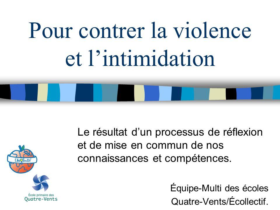 Pour contrer la violence et lintimidation Le résultat dun processus de réflexion et de mise en commun de nos connaissances et compétences. Équipe-Mult