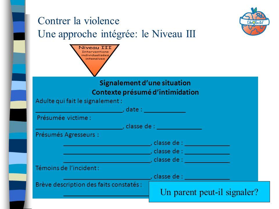 Contrer la violence Une approche intégrée: le Niveau III Signalement dune situation Contexte présumé dintimidation Adulte qui fait le signalement : __