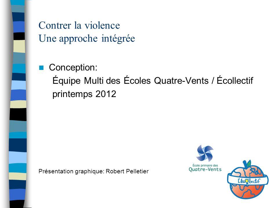 Conception: Équipe Multi des Écoles Quatre-Vents / Écollectif printemps 2012 Présentation graphique: Robert Pelletier Contrer la violence Une approche