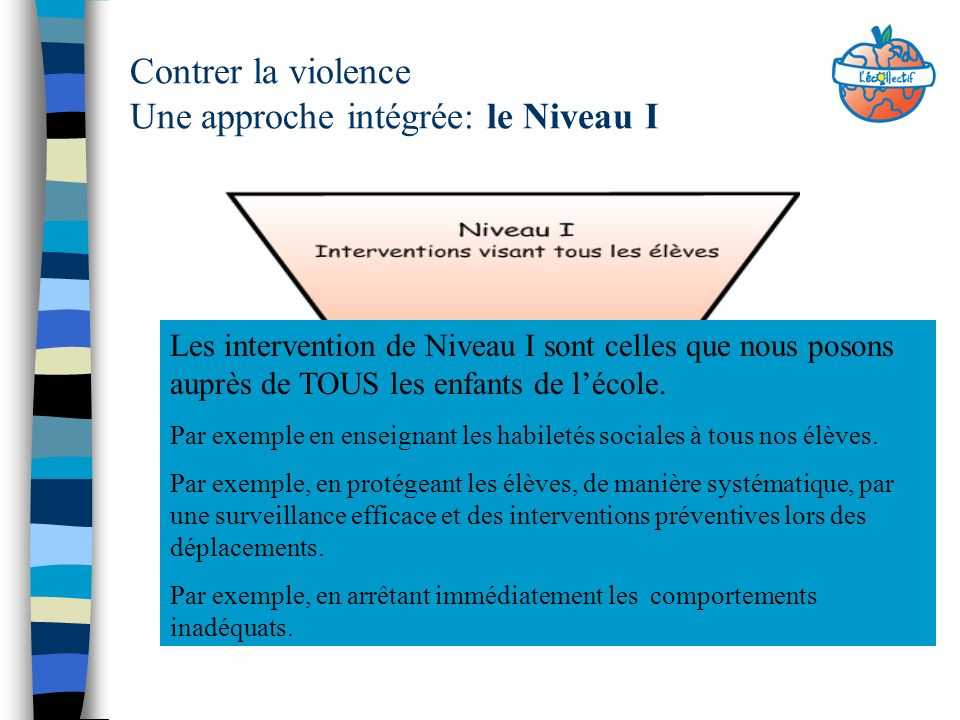 Contrer la violence Une approche intégrée: le Niveau I Les intervention de Niveau I sont celles que nous posons auprès de TOUS les enfants de lécole.