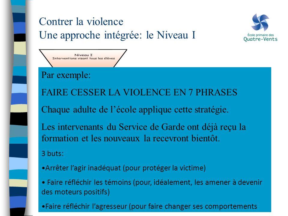 Contrer la violence Une approche intégrée: le Niveau I Par exemple: FAIRE CESSER LA VIOLENCE EN 7 PHRASES Chaque adulte de lécole applique cette strat