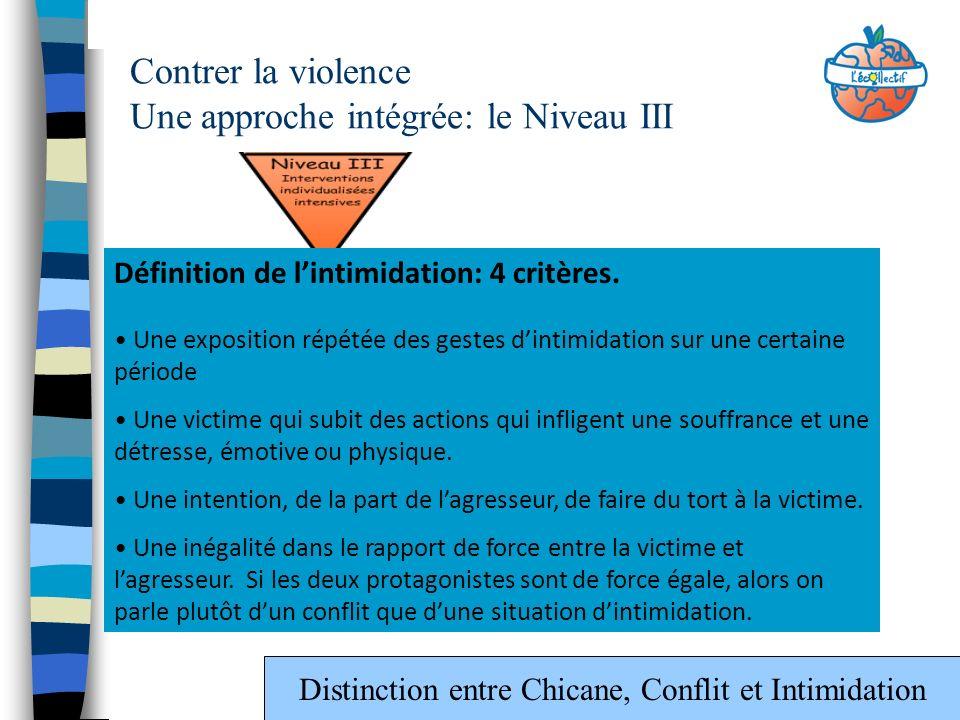 Contrer la violence Une approche intégrée: le Niveau III Définition de lintimidation: 4 critères. Une exposition répétée des gestes dintimidation sur