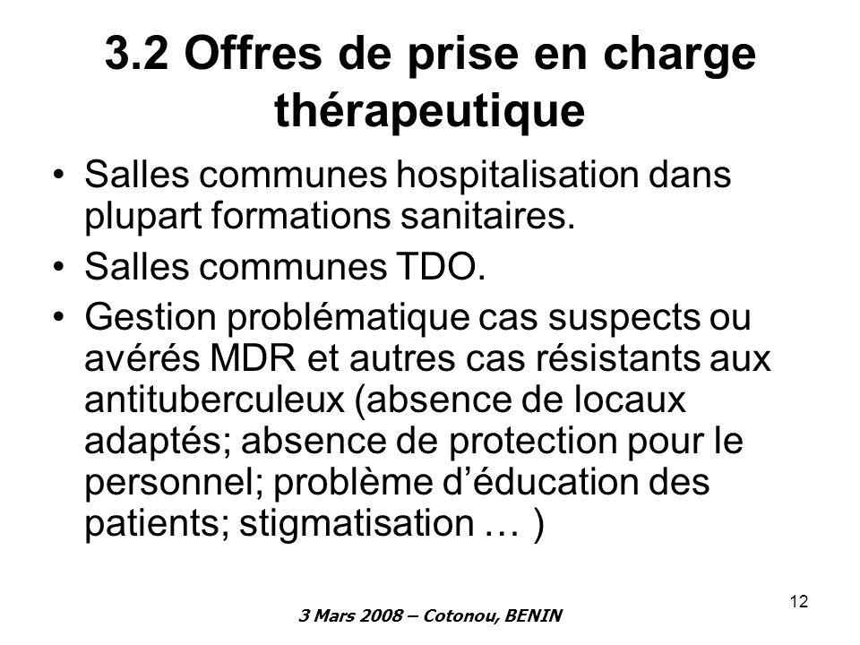 3 Mars 2008 – Cotonou, BENIN 12 3.2 Offres de prise en charge thérapeutique Salles communes hospitalisation dans plupart formations sanitaires. Salles