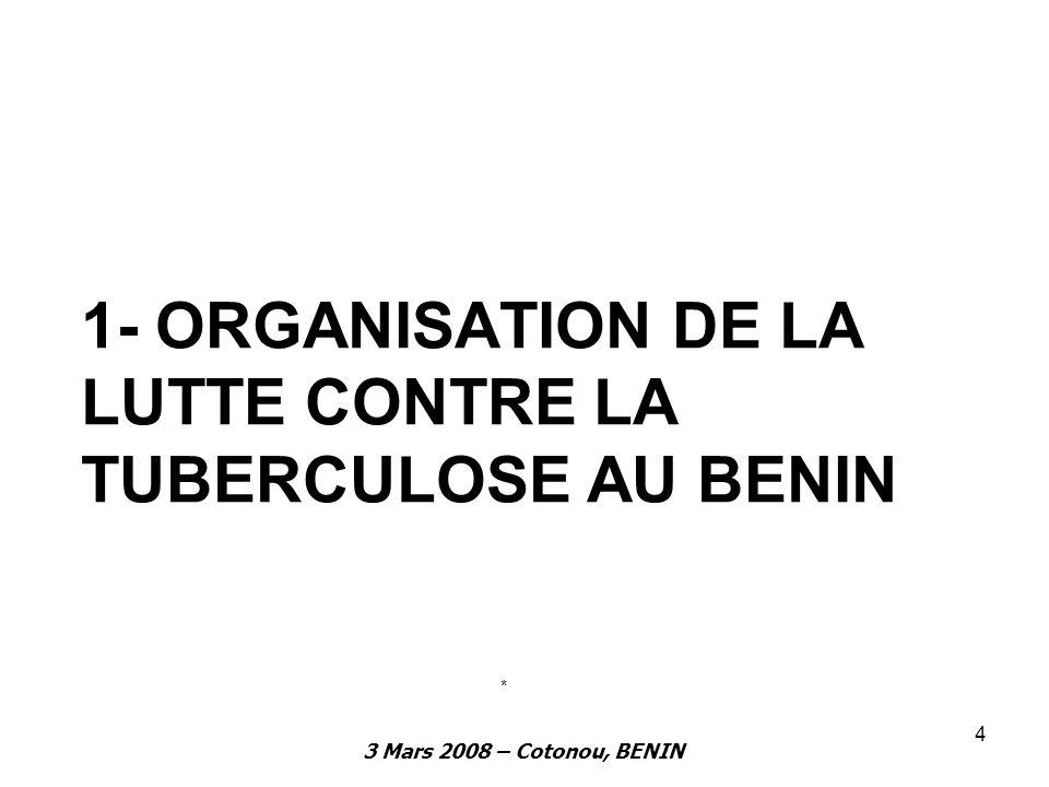 3 Mars 2008 – Cotonou, BENIN 4 1- ORGANISATION DE LA LUTTE CONTRE LA TUBERCULOSE AU BENIN *