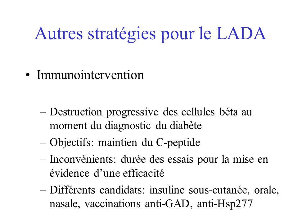 Autres stratégies pour le LADA Immunointervention –Destruction progressive des cellules béta au moment du diagnostic du diabète –Objectifs: maintien d