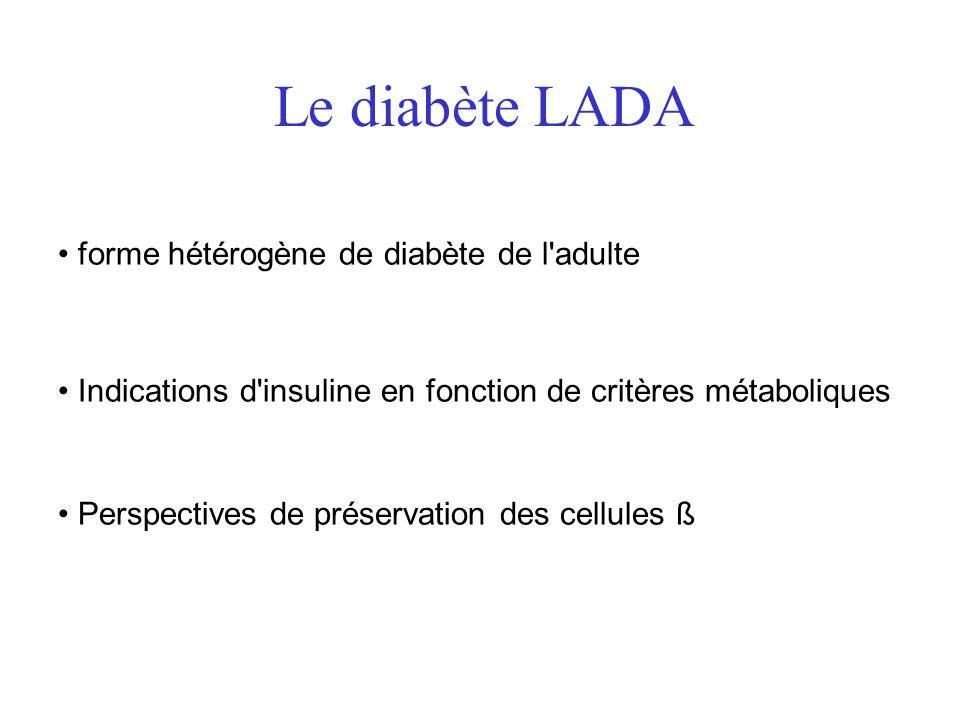 Le diabète LADA forme hétérogène de diabète de l'adulte Indications d'insuline en fonction de critères métaboliques Perspectives de préservation des c