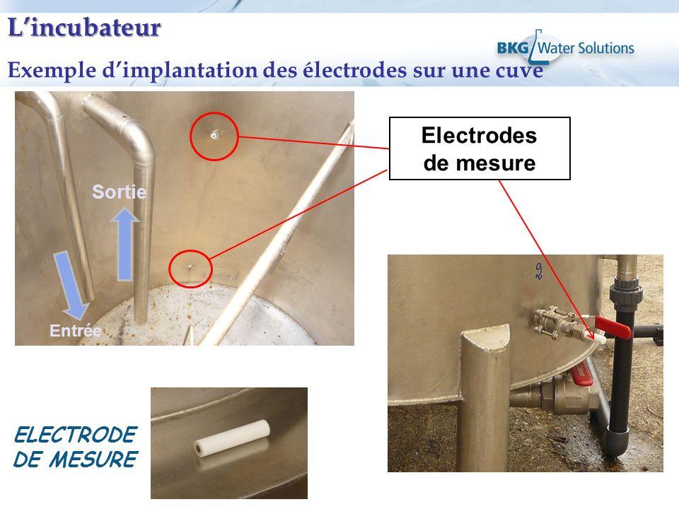 Entrée Electrodes de mesure Lincubateur Exemple dimplantation des électrodes sur une cuve Sortie ELECTRODE DE MESURE