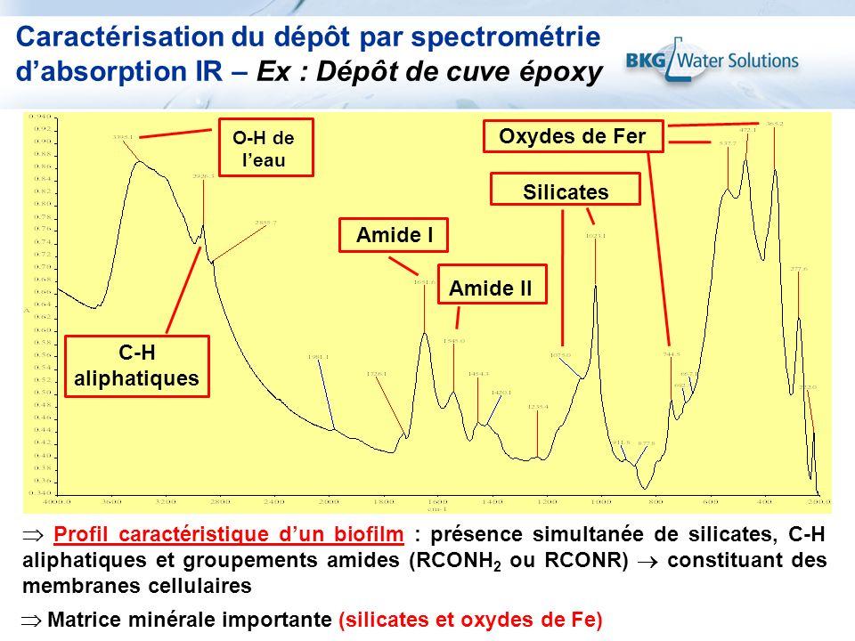Caractérisation du dépôt par spectrométrie dabsorption IR – Ex : Dépôt de cuve époxy Matrice minérale importante (silicates et oxydes de Fe) Amide I A
