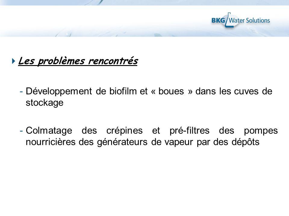 Les problèmes rencontrés -Développement de biofilm et « boues » dans les cuves de stockage -Colmatage des crépines et pré-filtres des pompes nourriciè