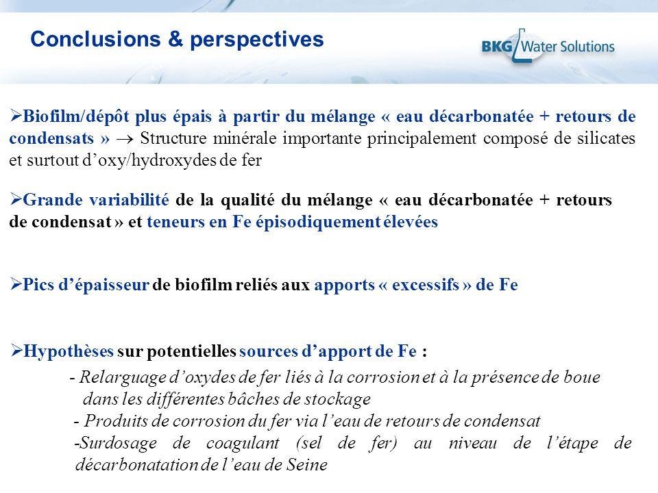 Conclusions & perspectives Biofilm/dépôt plus épais à partir du mélange « eau décarbonatée + retours de condensats » Structure minérale importante pri