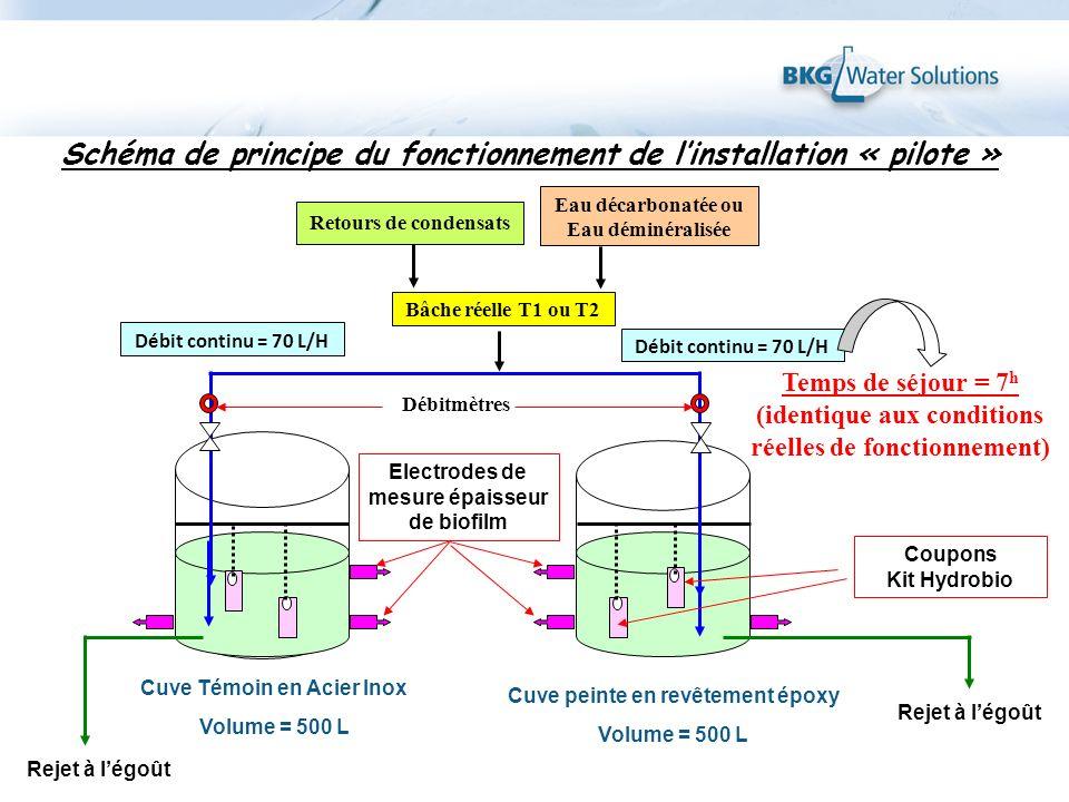 Electrodes de mesure épaisseur de biofilm Cuve Témoin en Acier Inox Volume = 500 L Cuve peinte en revêtement époxy Volume = 500 L Bâche réelle T1 ou T