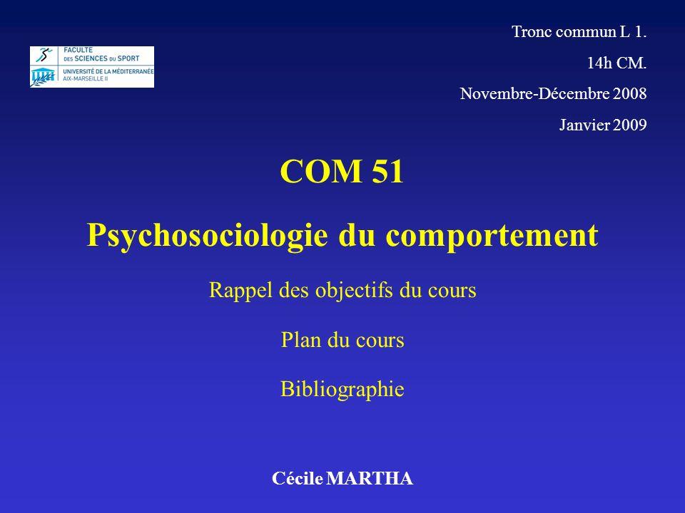 Tronc commun L 1. 14h CM. Novembre-Décembre 2008 Janvier 2009 Cécile MARTHA COM 51 Psychosociologie du comportement Rappel des objectifs du cours Plan
