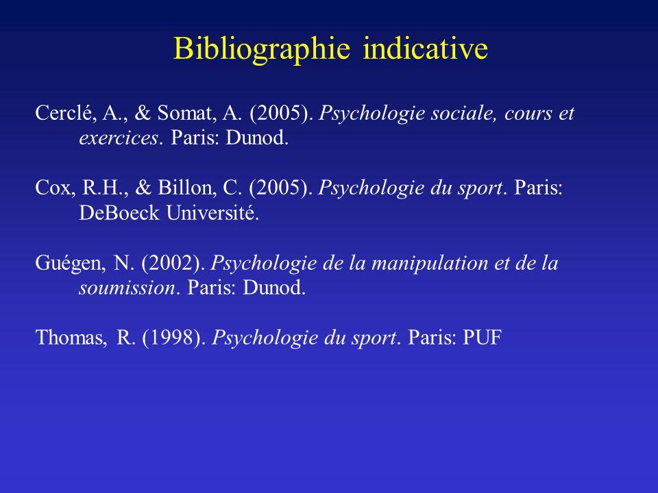 Bibliographie indicative Cerclé, A., & Somat, A. (2005). Psychologie sociale, cours et exercices. Paris: Dunod. Cox, R.H., & Billon, C. (2005). Psycho