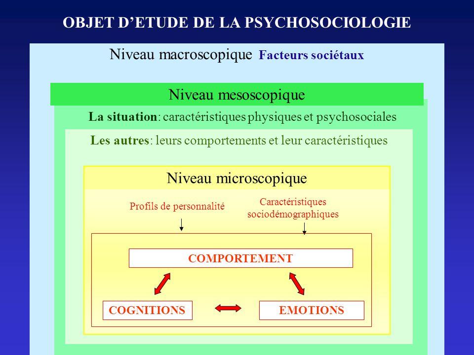Niveau macroscopique Facteurs sociétaux Les autres: leurs comportements et leur caractéristiques COMPORTEMENT Profils de personnalité Caractéristiques