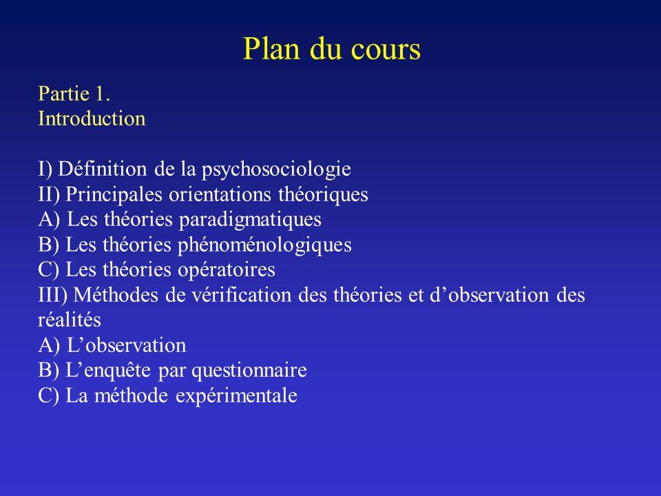 Plan du cours Partie 1. Introduction I) Définition de la psychosociologie II) Principales orientations théoriques A) Les théories paradigmatiques B) L