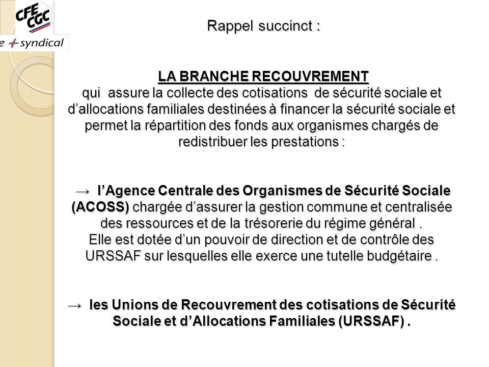 Rappel succinct : LA BRANCHE RECOUVREMENT qui assure la collecte des cotisations de sécurité sociale et dallocations familiales destinées à financer l