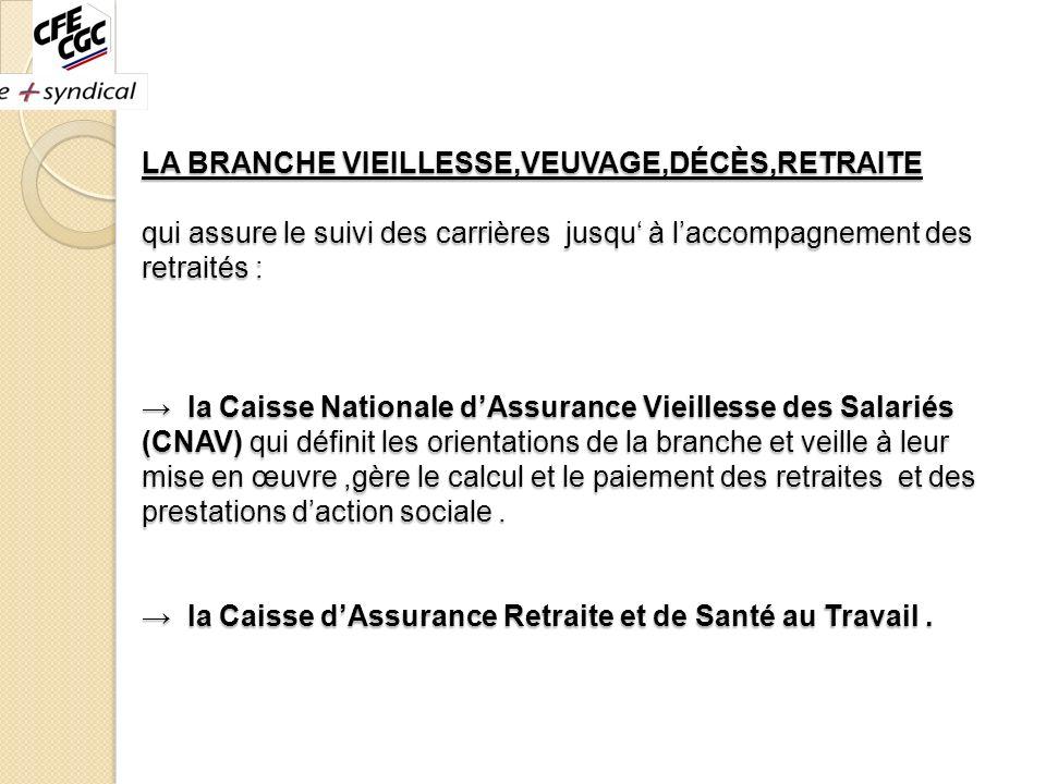 LA BRANCHE VIEILLESSE,VEUVAGE,DÉCÈS,RETRAITE qui assure le suivi des carrières jusqu à laccompagnement des retraités : la Caisse Nationale dAssurance