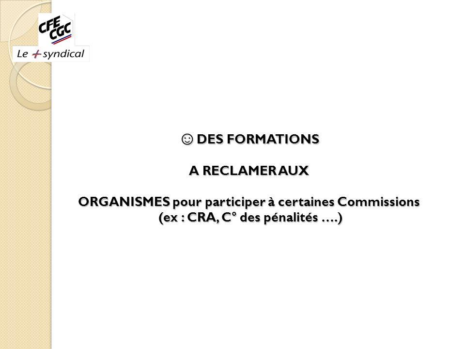 DES FORMATIONS A RECLAMER AUX ORGANISMES pour participer à certaines Commissions (ex : CRA, C° des pénalités ….) DES FORMATIONS A RECLAMER AUX ORGANIS