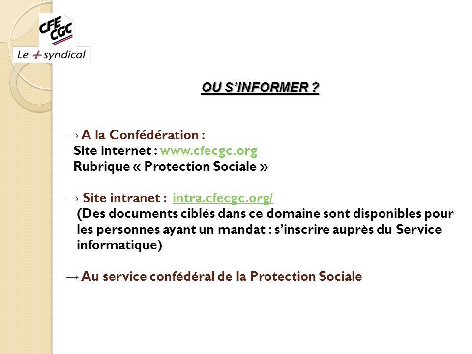 OU SINFORMER ? A la Confédération : Site internet : www.cfecgc.orgwww.cfecgc.org Rubrique « Protection Sociale » Site intranet : intra.cfecgc.org/intr