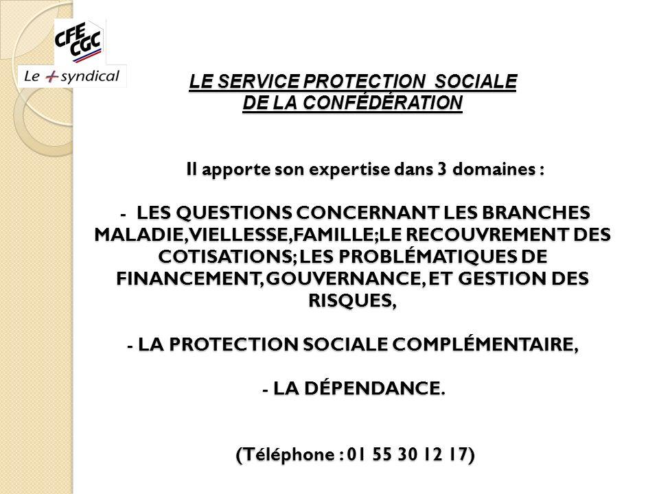 LE SERVICE PROTECTION SOCIALE DE LA CONFÉDÉRATION Il apporte son expertise dans 3 domaines : - LES QUESTIONS CONCERNANT LES BRANCHES MALADIE, VIELLESS