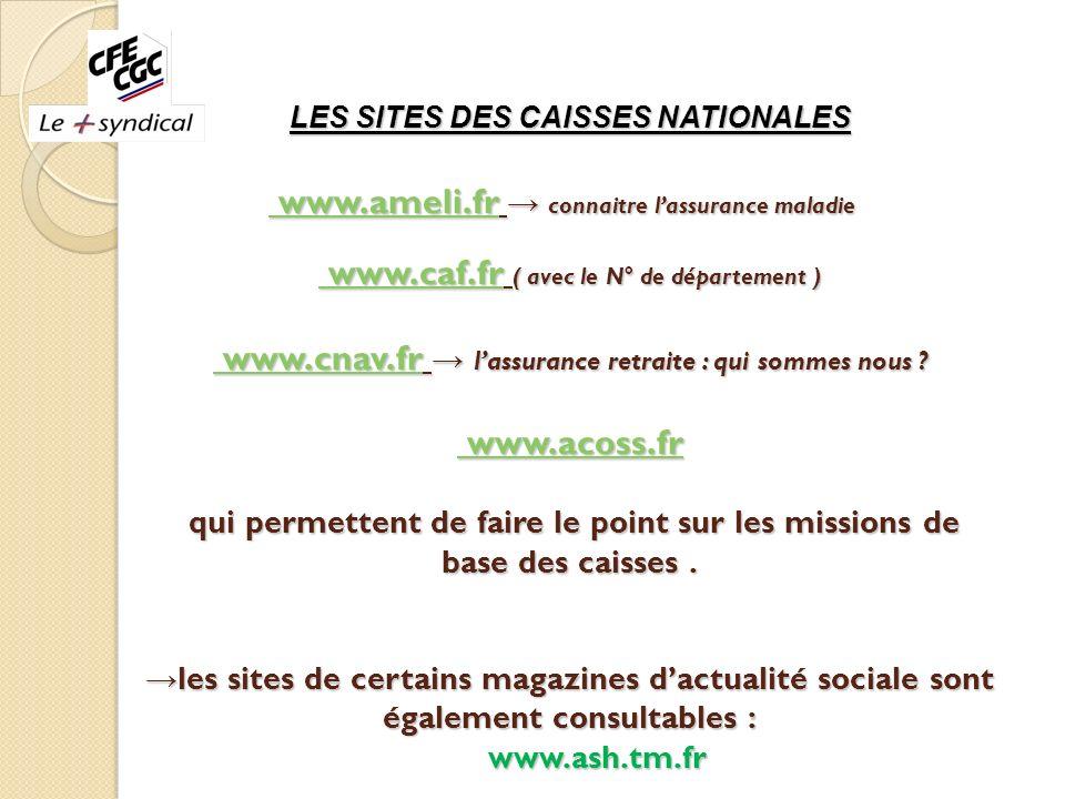 LES SITES DES CAISSES NATIONALES www.ameli.fr connaitre lassurance maladie www.caf.fr ( avec le N° de département ) www.cnav.fr lassurance retraite :