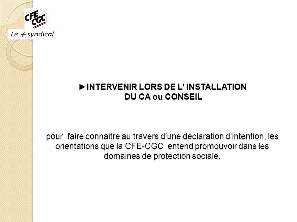 INTERVENIR LORS DE L INSTALLATION DU CA ou CONSEIL pour faire connaitre au travers dune déclaration dintention, les orientations que la CFE-CGC entend