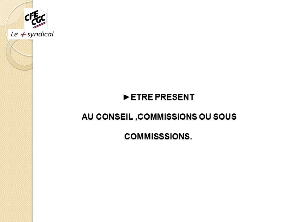 ETRE PRESENT AU CONSEIL,COMMISSIONS OU SOUS COMMISSSIONS. ETRE PRESENT AU CONSEIL,COMMISSIONS OU SOUS COMMISSSIONS.