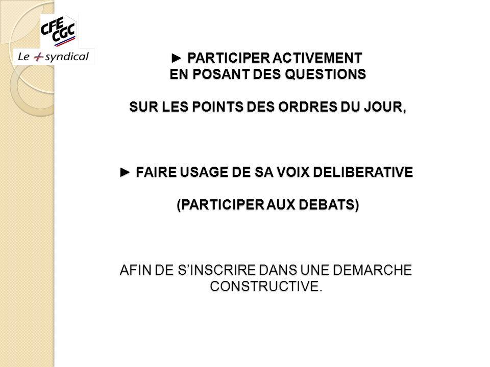 PARTICIPER ACTIVEMENT EN POSANT DES QUESTIONS SUR LES POINTS DES ORDRES DU JOUR, FAIRE USAGE DE SA VOIX DELIBERATIVE (PARTICIPER AUX DEBATS) AFIN DE S