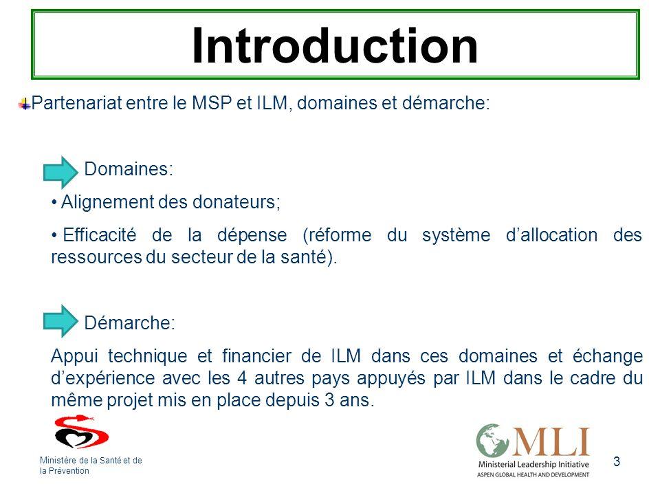 3 Introduction Partenariat entre le MSP et ILM, domaines et démarche: Domaines: Alignement des donateurs; Efficacité de la dépense (réforme du système dallocation des ressources du secteur de la santé).