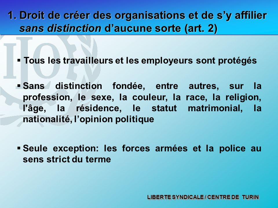 LIBERTE SYNDICALE / CENTRE DE TURIN 1. Droit de créer des organisations et de sy affilier sans distinction daucune sorte (art. 2) Tous les travailleur