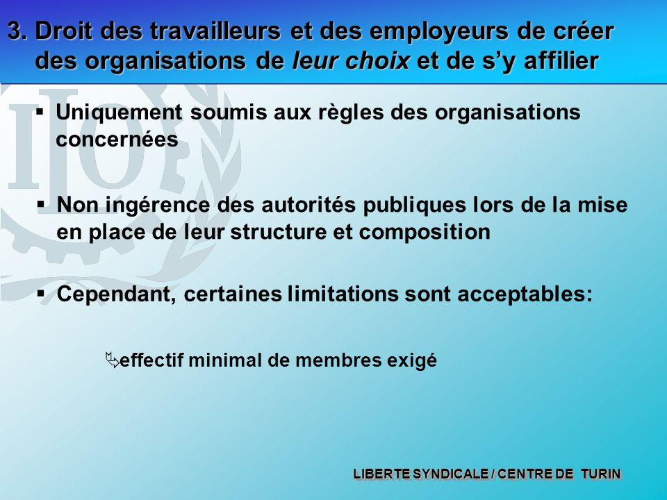LIBERTE SYNDICALE / CENTRE DE TURIN 3. Droit des travailleurs et des employeurs de créer des organisations de leur choix et de sy affilier Uniquement