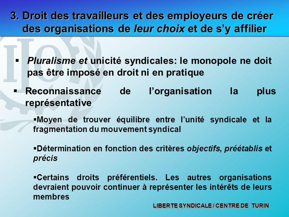 LIBERTE SYNDICALE / CENTRE DE TURIN 3. Droit des travailleurs et des employeurs de créer des organisations de leur choix et de sy affilier Pluralisme