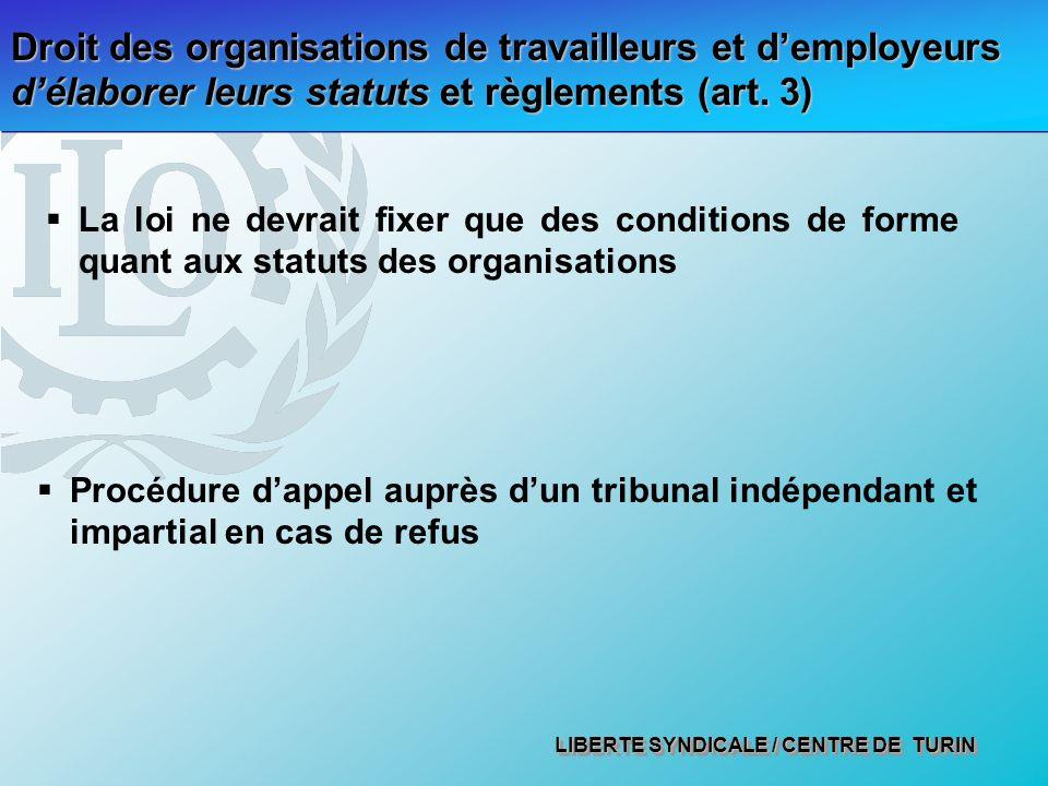 LIBERTE SYNDICALE / CENTRE DE TURIN Droit des organisations de travailleurs et demployeurs délaborer leurs statuts et règlements (art. 3) La loi ne de