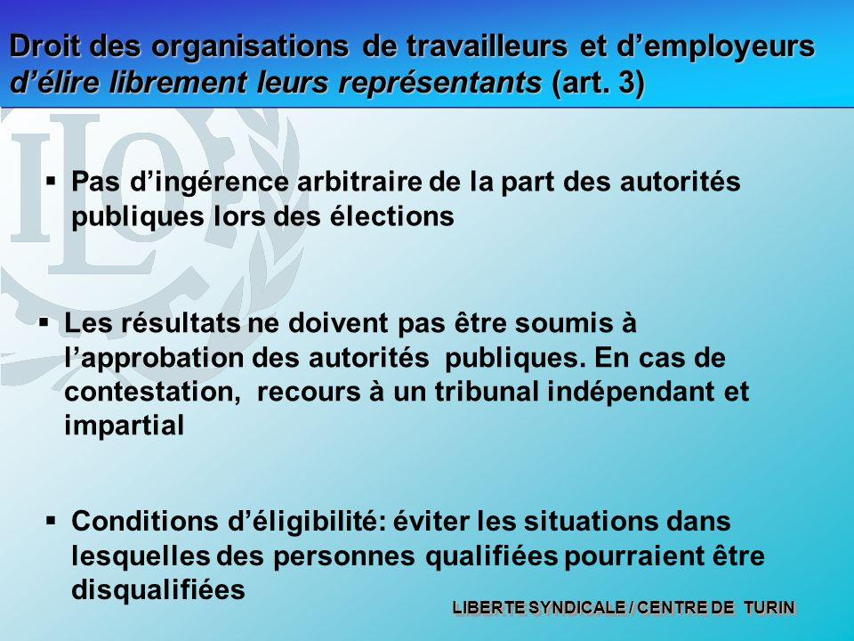 LIBERTE SYNDICALE / CENTRE DE TURIN Droit des organisations de travailleurs et demployeurs délire librement leurs représentants (art. 3) Pas dingérenc