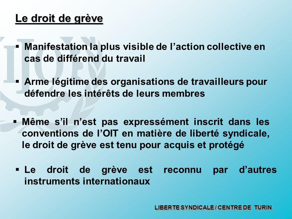 LIBERTE SYNDICALE / CENTRE DE TURIN Manifestation la plus visible de laction collective en cas de différend du travail Arme légitime des organisations