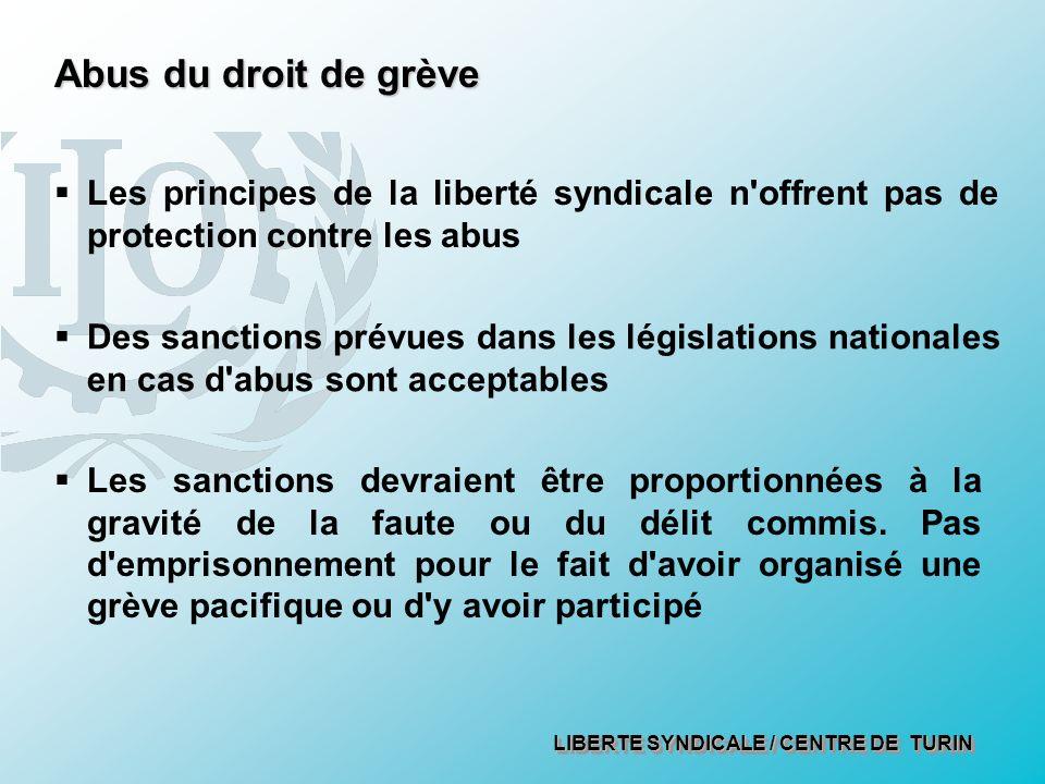 LIBERTE SYNDICALE / CENTRE DE TURIN Abus du droit de grève Des sanctions prévues dans les législations nationales en cas d'abus sont acceptables Les p