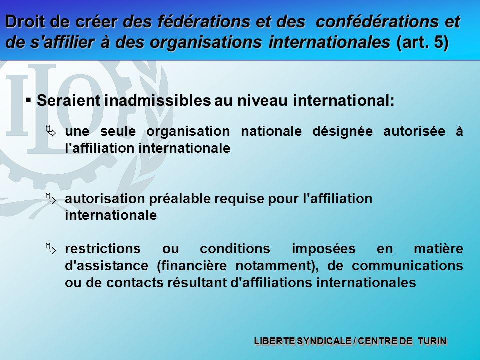 LIBERTE SYNDICALE / CENTRE DE TURIN Droit de créer des fédérations et des confédérations et de s'affilier à des organisations internationales (art. 5)